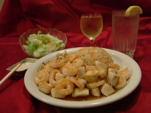 Grilled chicken and shrimp is one of several combinations popular with diners at Shonos Japanese Grill in Riverchase.